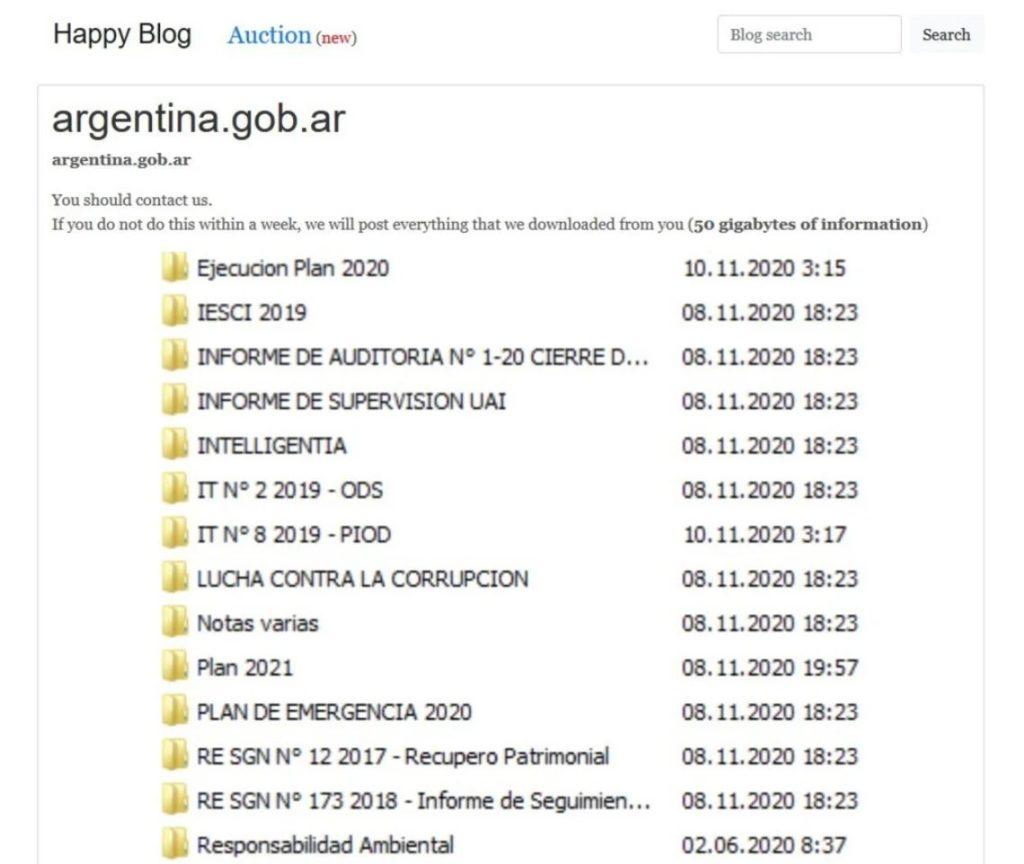 Imagen como prueba de los hackers evidenciada en la publicación del blog de REvil. Fuente: Clarín.com.