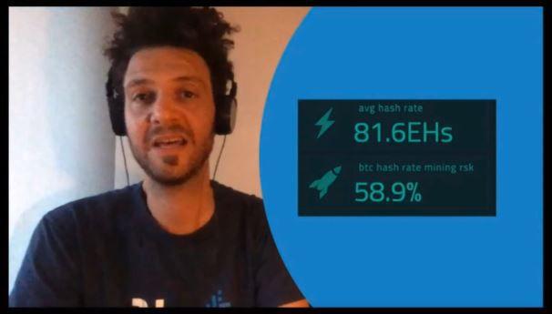 Gabriel Kurman durante su presentación presentando el valor de 58,9% para el hashing de RSK absorbido de la red Bitcoin. Fuente: BeInCrypto en CryptoNight 2020.