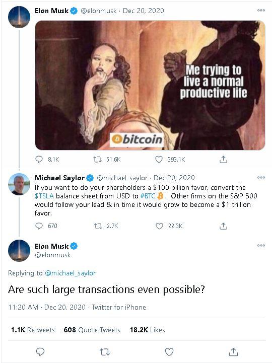 Intercambio de tweets sobre Bitcoin entre Elon Musk y Michael Saylor: Fuente: @elonmusk.