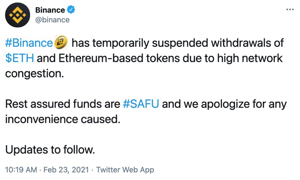 Binance suspende retiros ETH