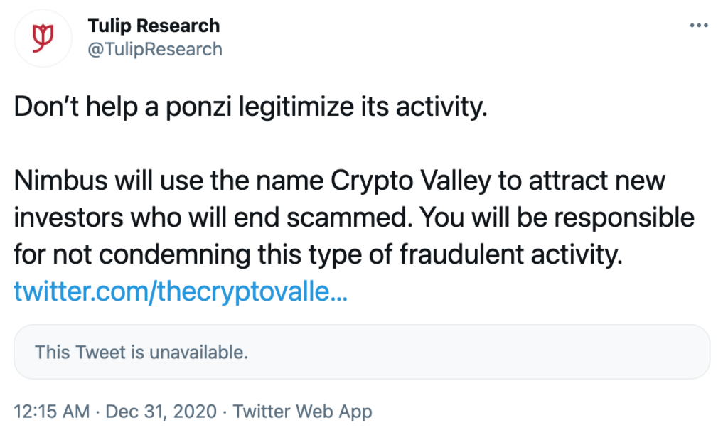 Nimbus esquema ponzi Crypto Valley