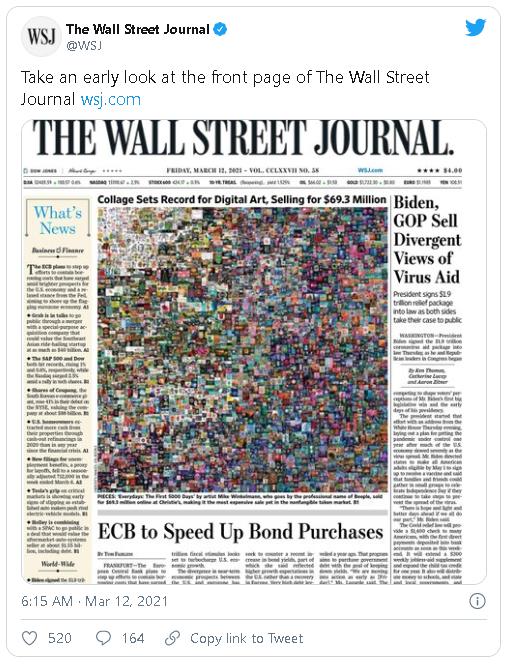 Portada del Wall Street Journal del 12 de marzo. Fuente: @WSJ.