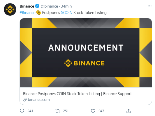 binance pospone coinbase eng