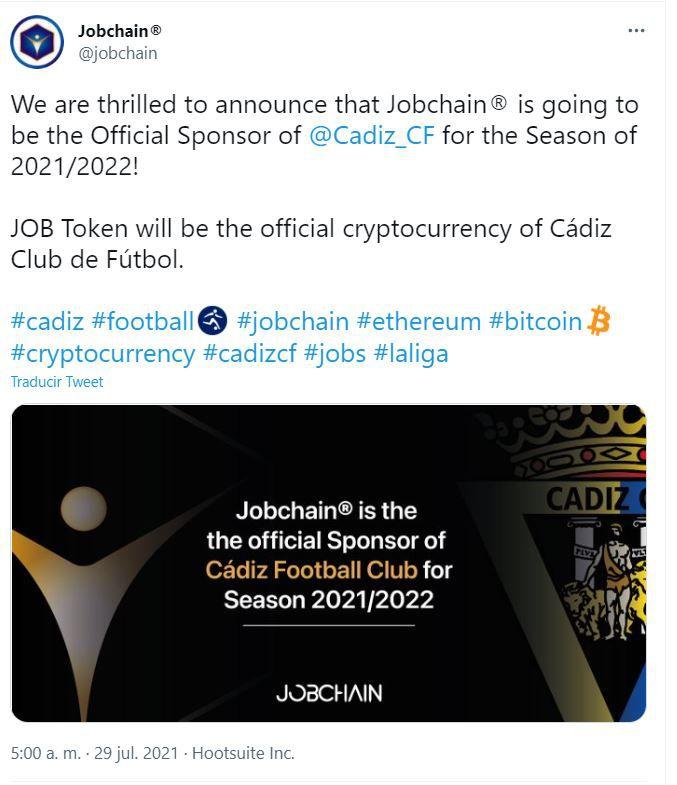 FXMAG criptodivisas cádiz club de fútbol de españa suma al exchange jobchain como sponsor oficial negocios deporte y cripto españa fútbol y criptomonedas mensajes información 1
