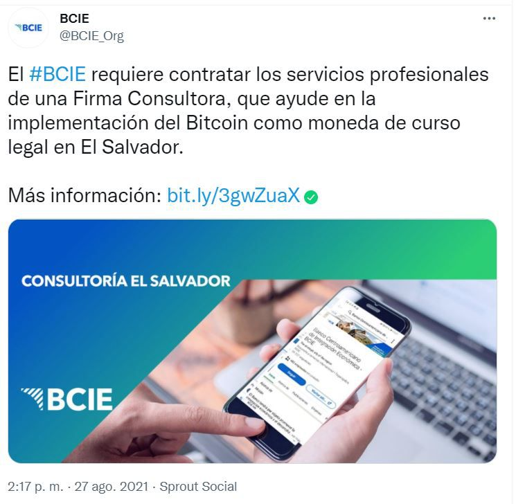 FXMAG cryptocurrencies the bcie seeks consultancy to help it implement bitcoin in el salvador markets (btc) bitcoin news latin america el salvador messages information 1