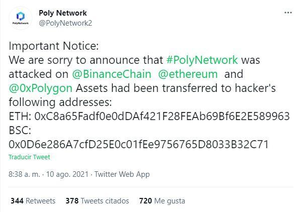 FXMAG criptodivisas ¡defi sufre hack monumental! más de $600 millones robados en poly network mercados defi hack mensajes información 1